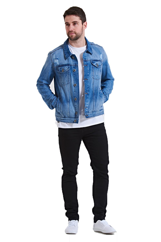 Threadbare Mens Rocky Denim Jacket Designer Rip Detailed Premium Cotton Outwear
