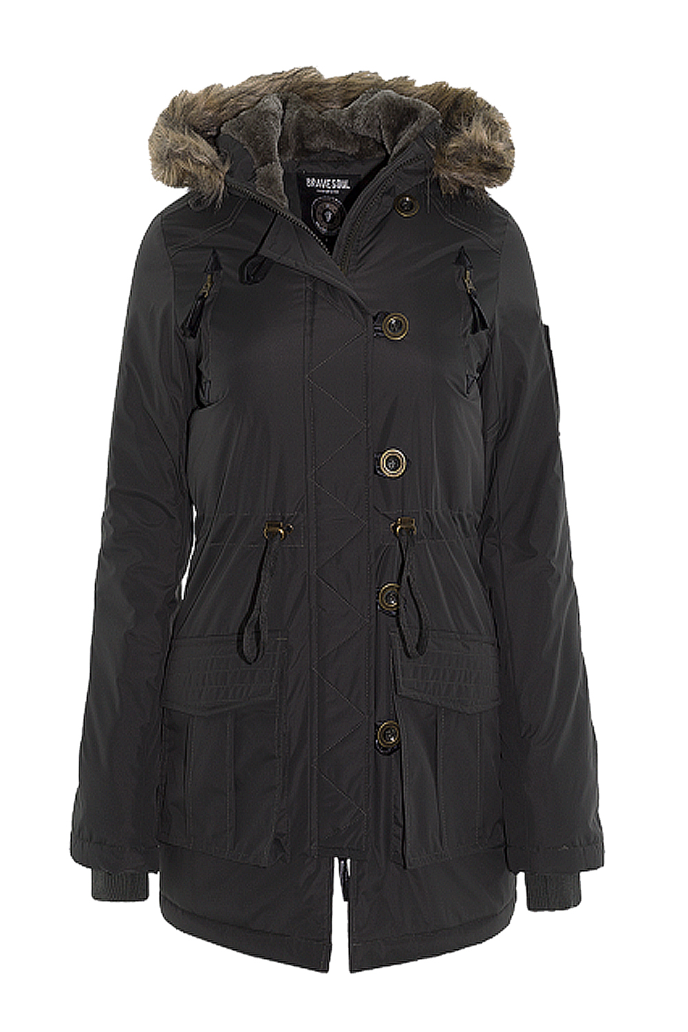 Brave-Soul-Ladies-Military-Parker-Jacket-Faux-Fur-Hooded-Quilted-Warm-Parka-Coat