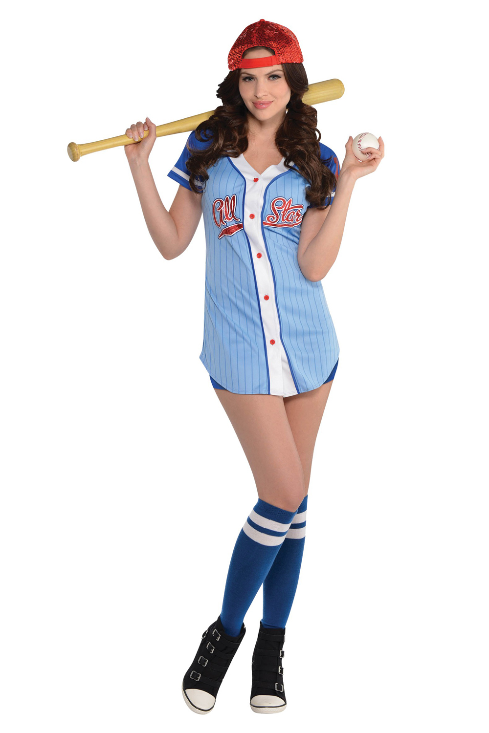 Christys-Dress-Up-Ladies-Outfit-Baseball-Babe-American-Sport-Fancy-Dress-Costume