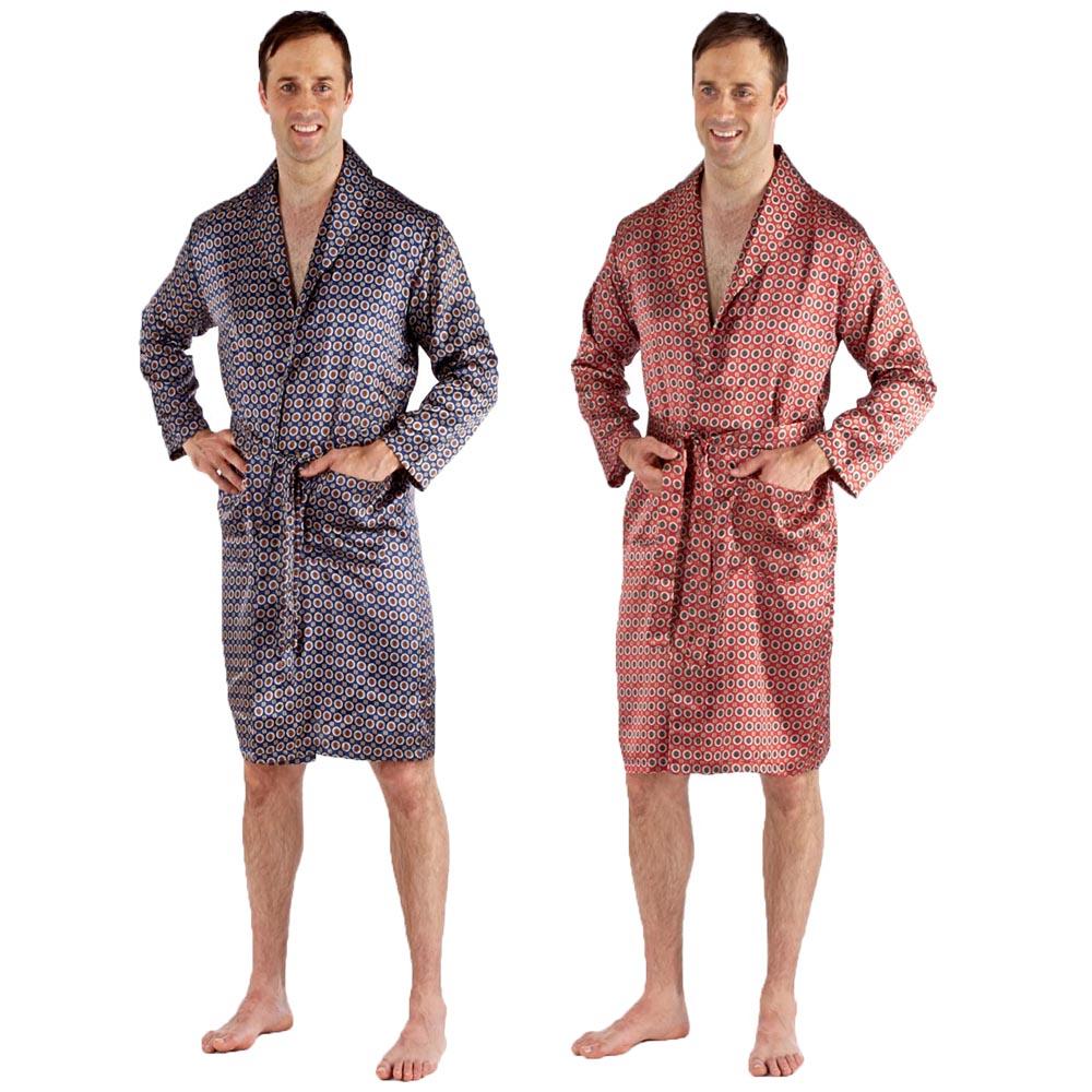 Harvey James Summer Poly Cotton Mens Kimono Dressing Gown Robe Wrap