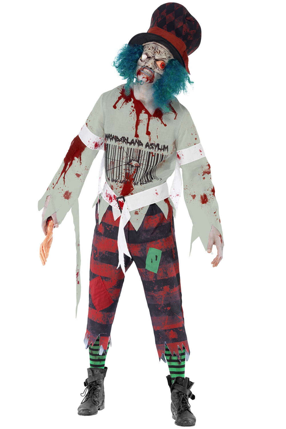 smiffys zombie hatter costume or latex gory gourmet & arm halloween