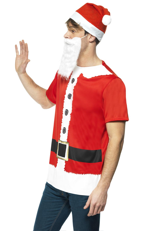 Vestido-de-lujo-Smiffy-039-S-Adultos-Kit-Instantaneo-De-Santa-Claus-de-Navidad-Traje-Accesorio