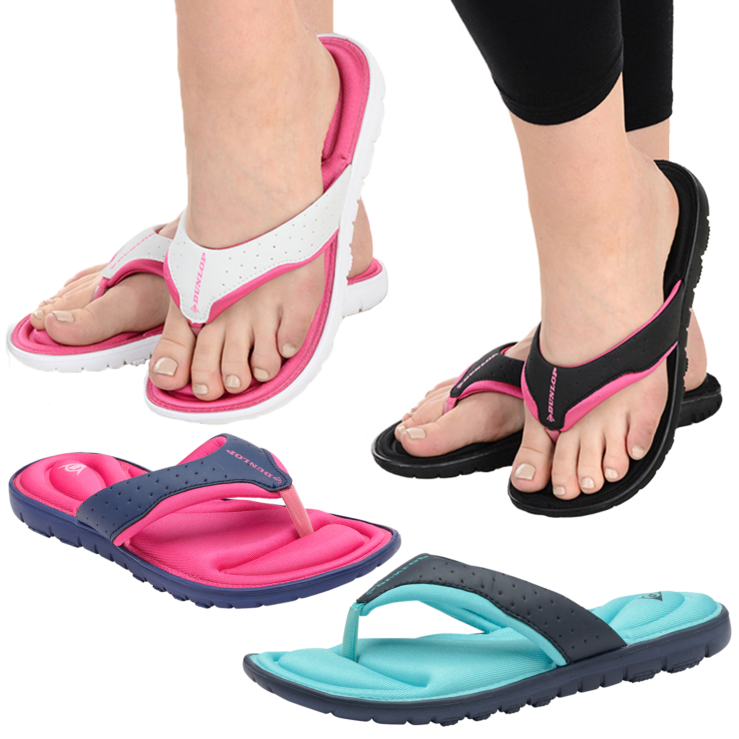 Womens Dunlop Flip Flops New Ladies Memory Foam Toe Post -2620