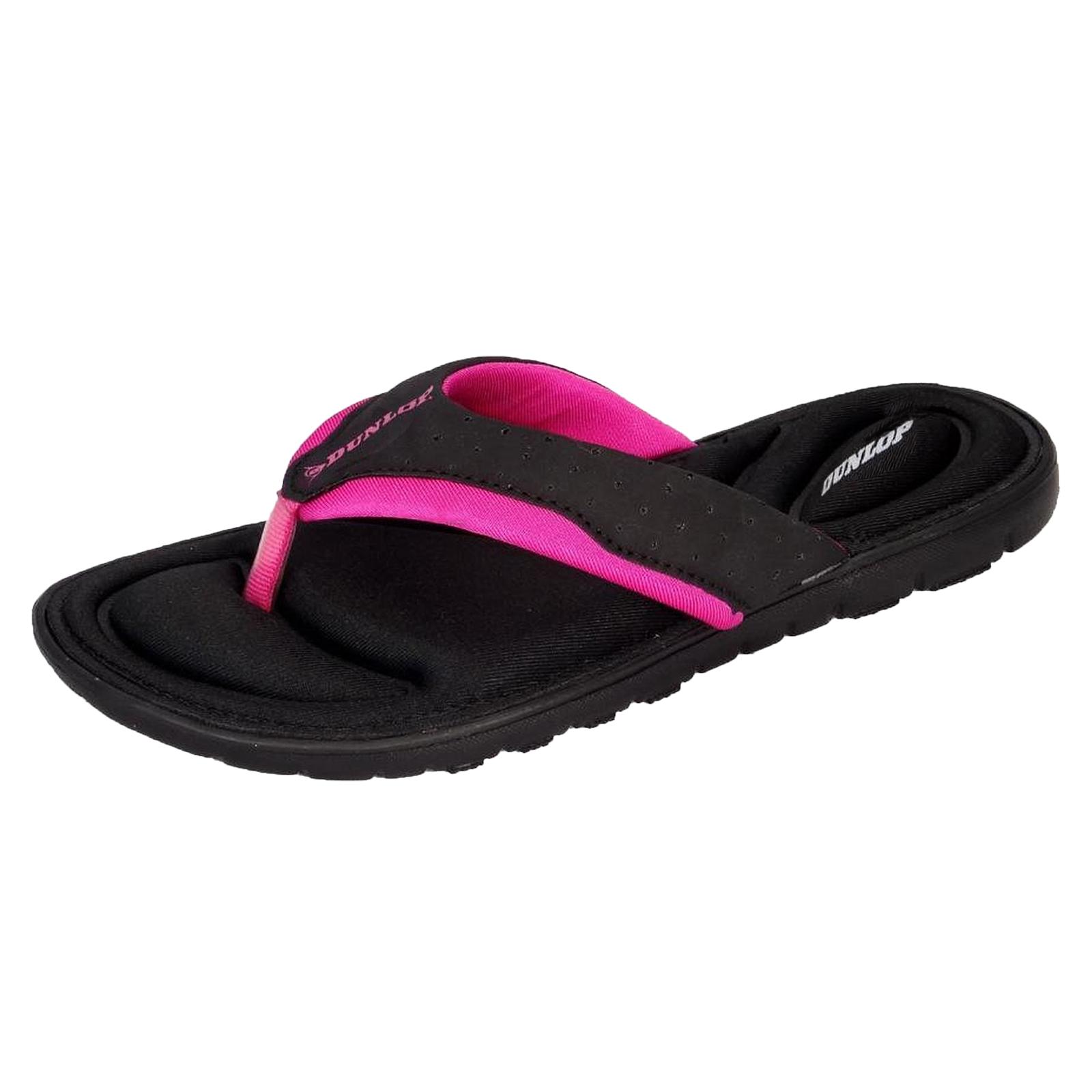 883c9b0f0a06f Details about Dunlop Womens Designer Black Fuchsia Memory Foam Flip Flops  Toe Post Sandals