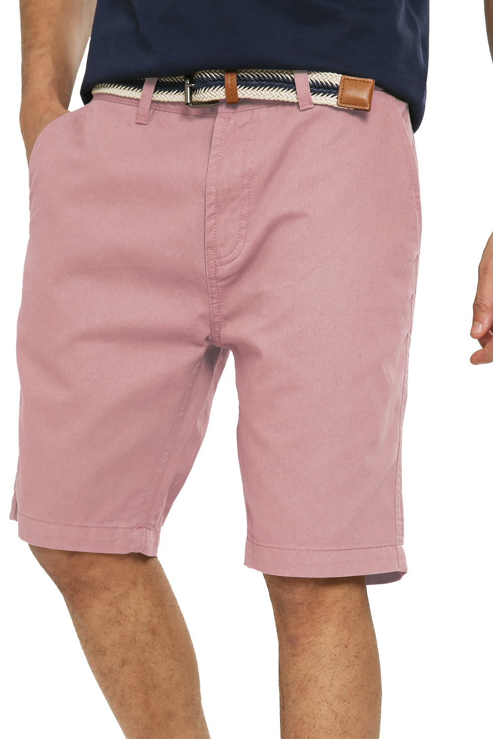 Threadbare-Mens-Slim-Fit-Belted-Chino-Shorts-Summer-Casual-Cotton-Smart-Bottoms thumbnail 39