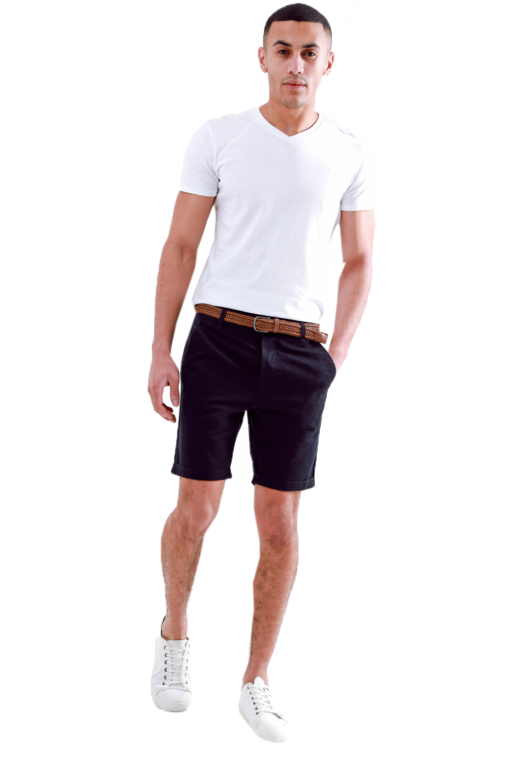Threadbare-Mens-Slim-Fit-Belted-Chino-Shorts-Summer-Casual-Cotton-Smart-Bottoms thumbnail 3