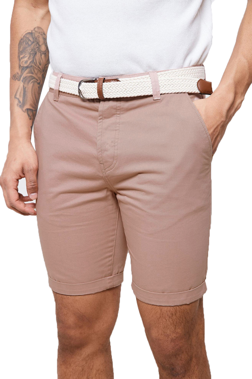 Threadbare-Mens-Slim-Fit-Belted-Chino-Shorts-Summer-Casual-Cotton-Smart-Bottoms thumbnail 16