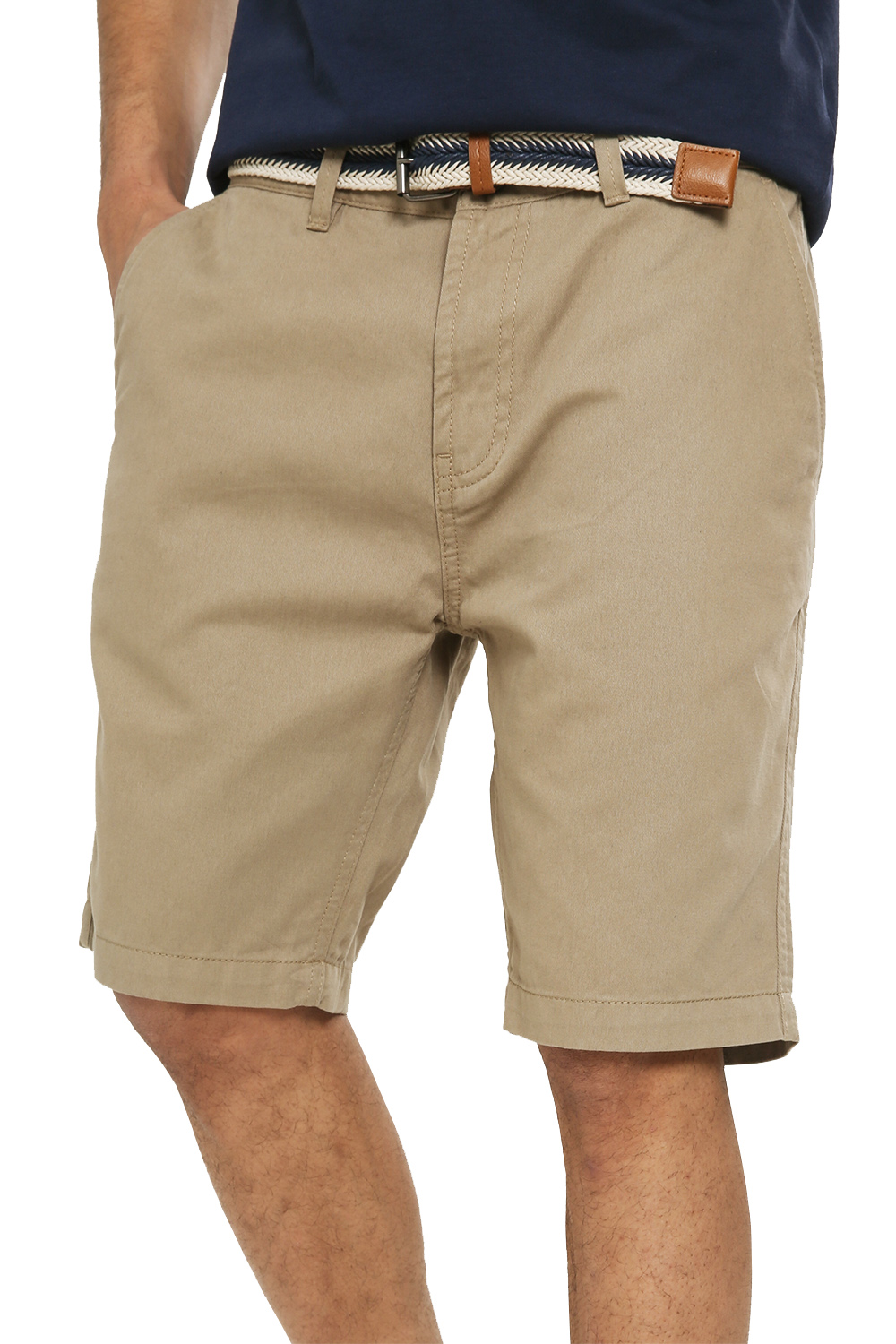 Threadbare-Mens-Slim-Fit-Belted-Chino-Shorts-Summer-Casual-Cotton-Smart-Bottoms thumbnail 26
