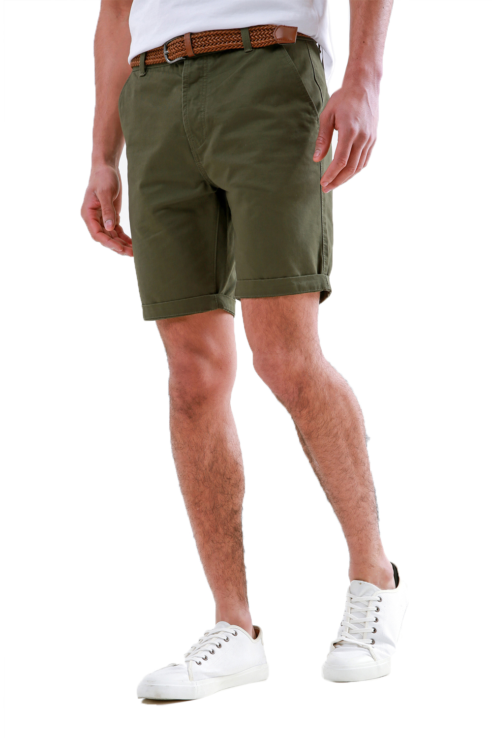 Threadbare-Mens-Slim-Fit-Belted-Chino-Shorts-Summer-Casual-Cotton-Smart-Bottoms thumbnail 12