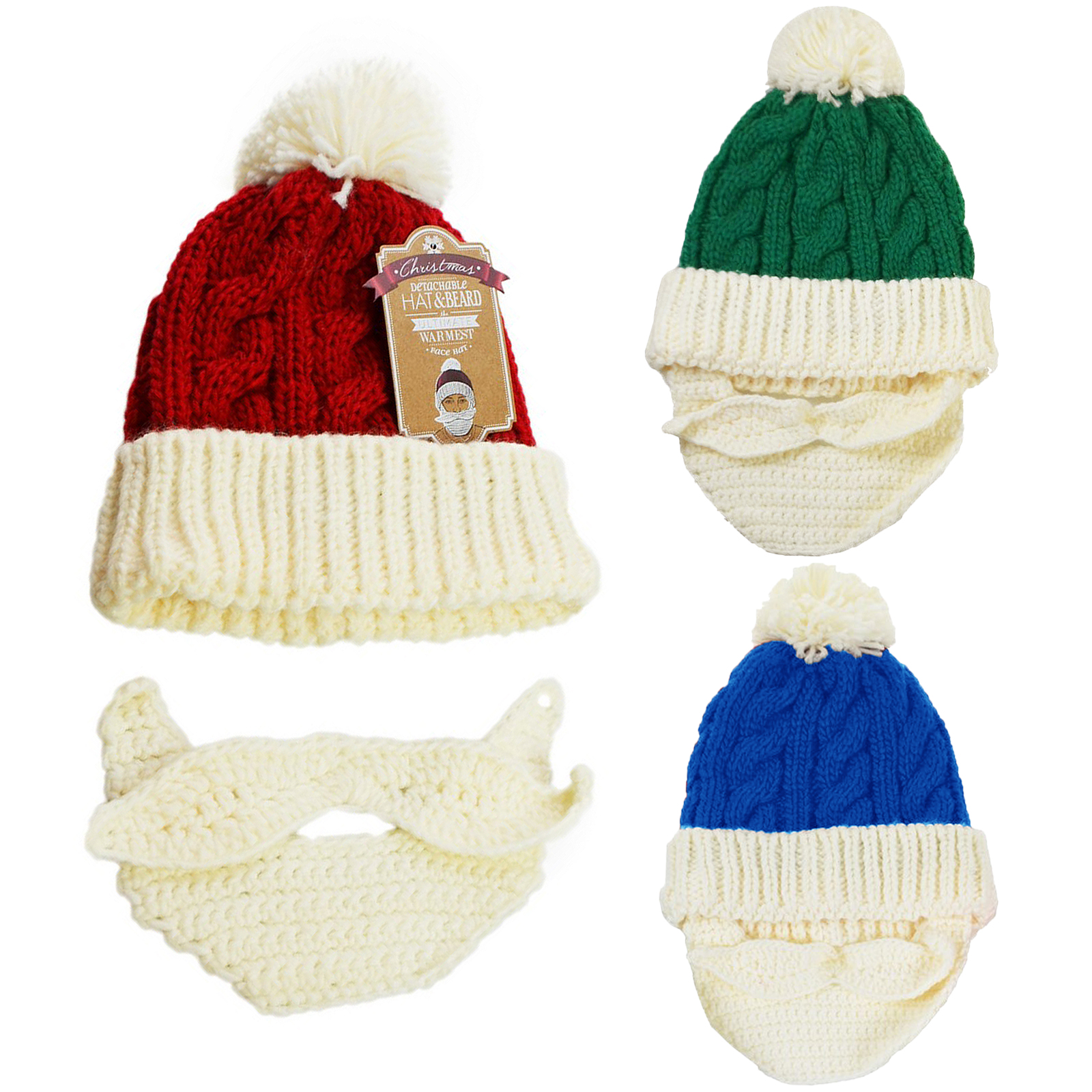 Details about Novelty Chunky Cable Knitted Luxury Santa Hat With Detachable  Beard Face Warmer 7c97ebc030b2