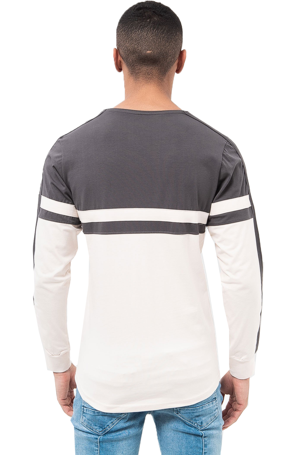 Da-Uomo-Crosshatch-Manica-Lunga-Top-Stampato-Girocollo-a-Righe-in-grassetto-FASHION-Tees miniatura 4