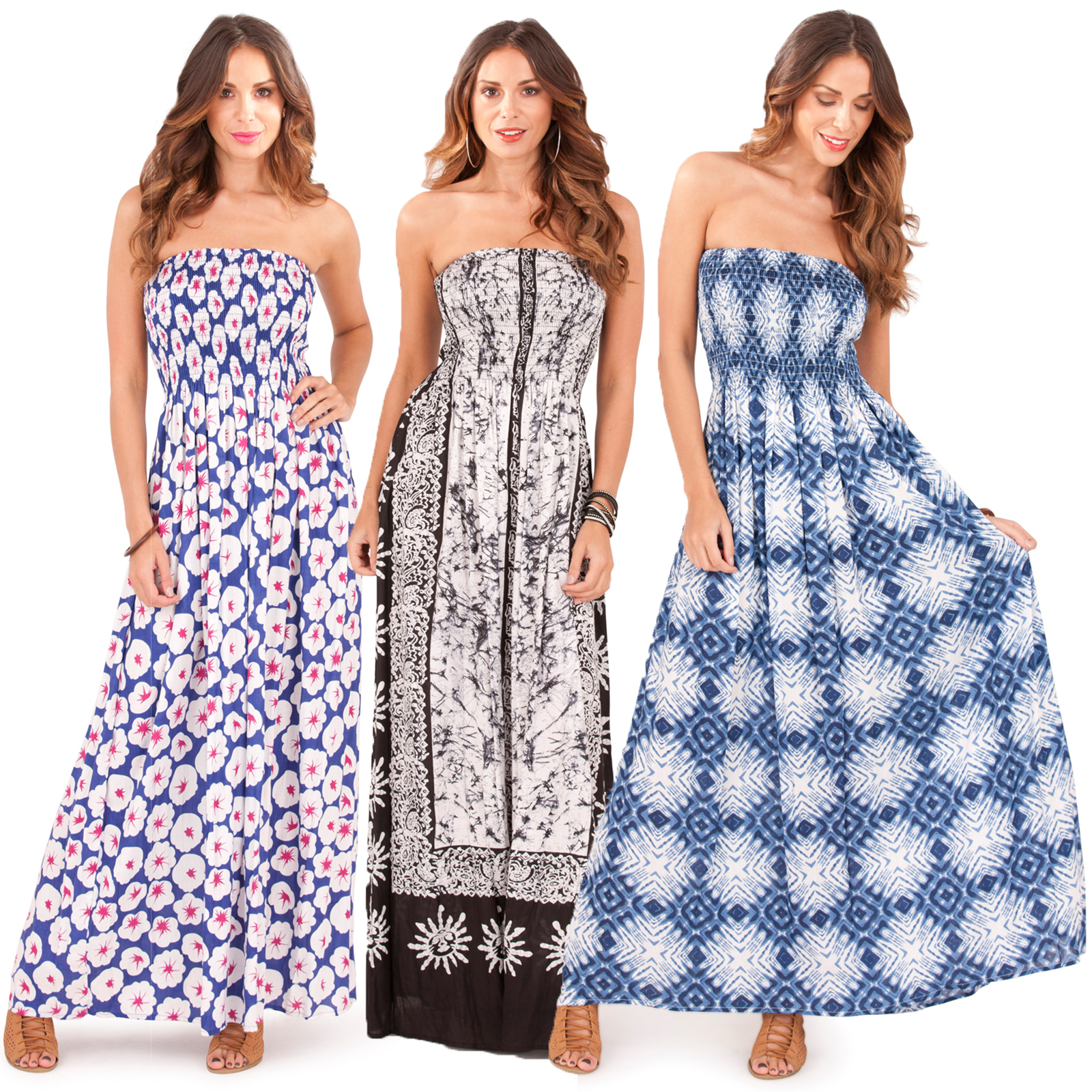 Pistachio Womens Bandeau Patterned Sun Dress New Ladies ...