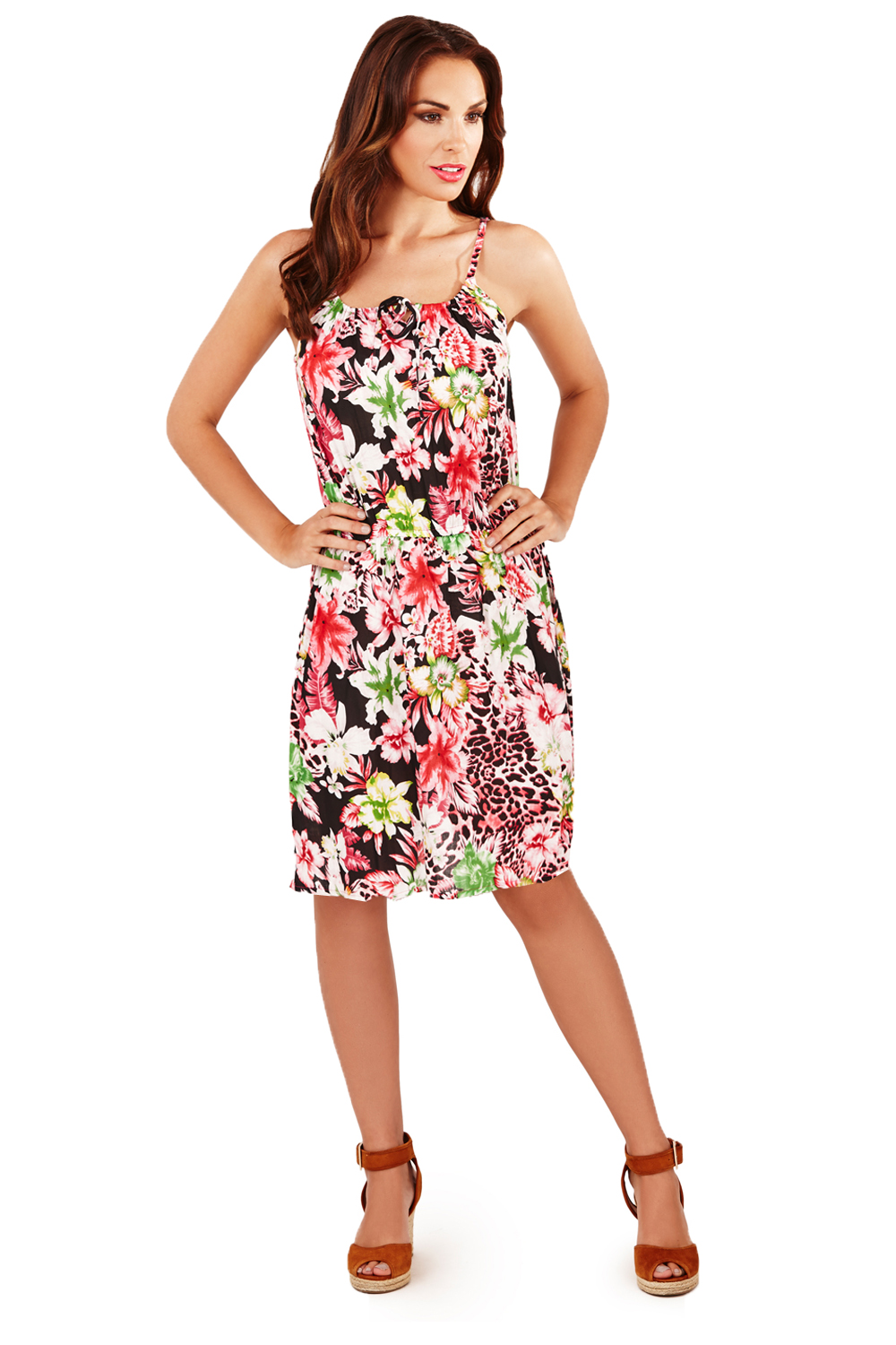 pistachio womens floral amp animal print dress short strappy