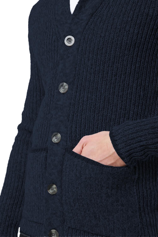 Logoro-Da-Uomo-Zucca-con-Bottoni-Cardigan-Scialle-Collo-Cavo-Lavorato-a-Maglia-Maglione-Invernale miniatura 6