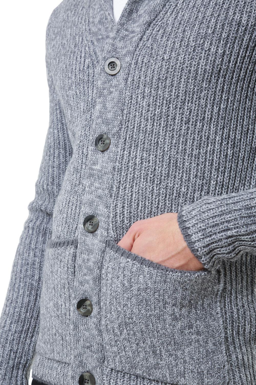 Logoro-Da-Uomo-Zucca-con-Bottoni-Cardigan-Scialle-Collo-Cavo-Lavorato-a-Maglia-Maglione-Invernale miniatura 12