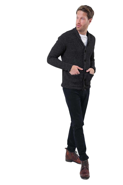 Logoro-Da-Uomo-Zucca-con-Bottoni-Cardigan-Scialle-Collo-Cavo-Lavorato-a-Maglia-Maglione-Invernale miniatura 18