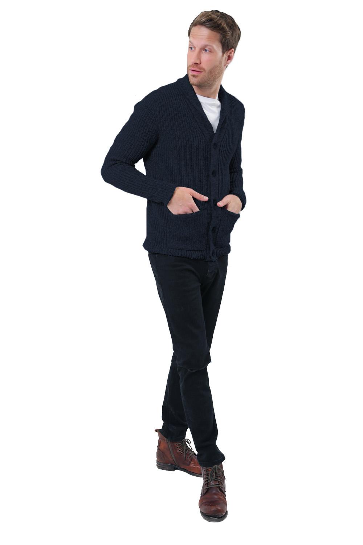 Logoro-Da-Uomo-Zucca-con-Bottoni-Cardigan-Scialle-Collo-Cavo-Lavorato-a-Maglia-Maglione-Invernale miniatura 5