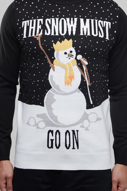 Seasons Greetings Mens Crew Neck The Snow Must Go On Snowman Jumper Xmas Sweater