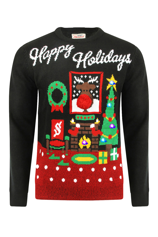 Happy Holidays Mens Womens Light Up Christmas Jumper Novelty Knit ...
