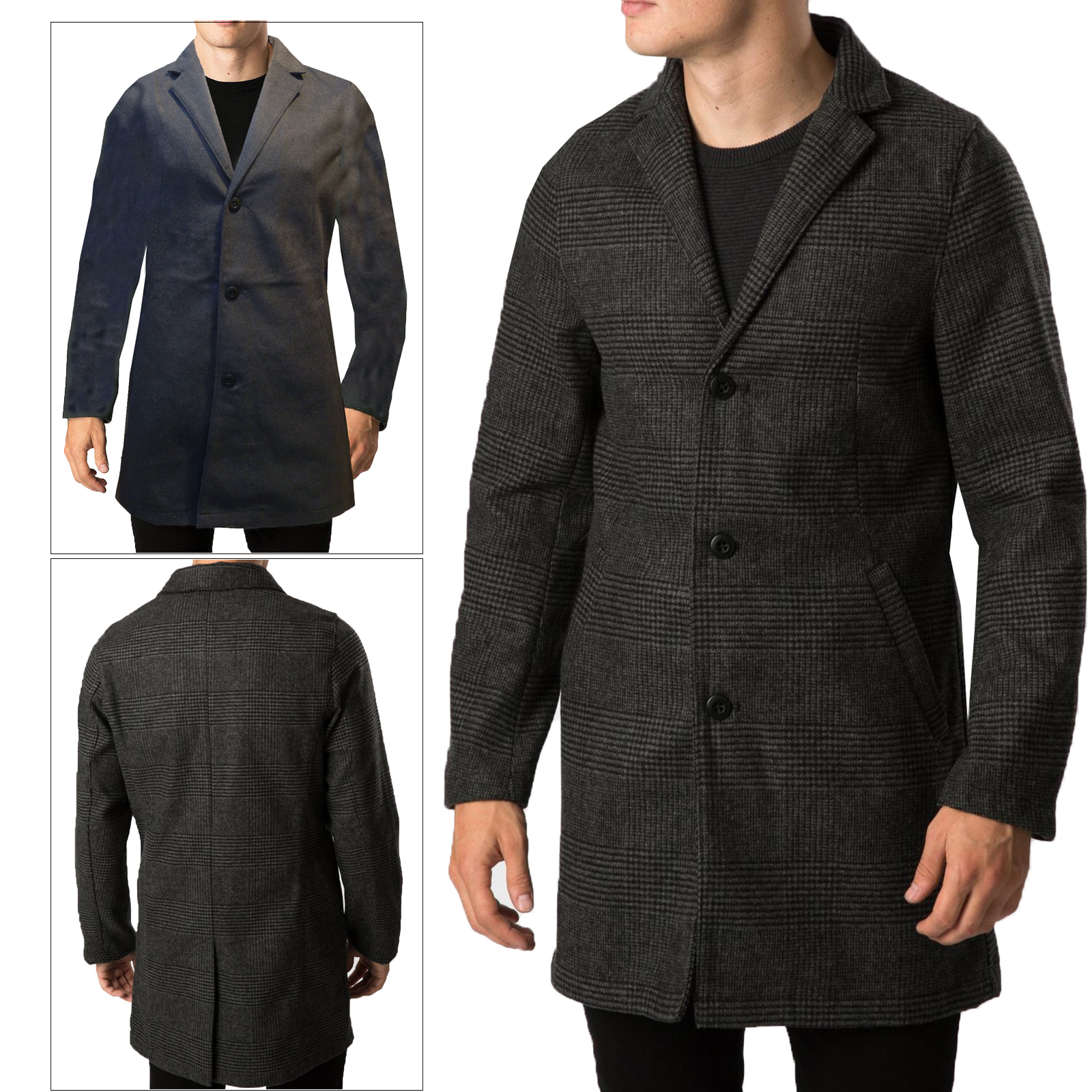 Mens Threadbare Wool Mix Formal Smart Collared Button Winter Trench Coat Jacket