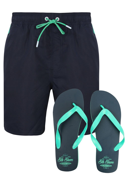 South Shore Mens Vaughan Swim Beach Surf Shorts and Flip Flops Set