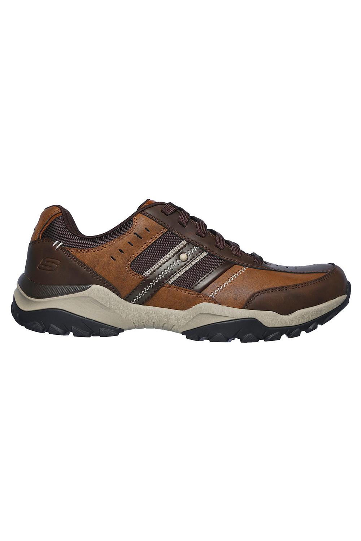Skechers-Mens-HENRICK-Scarpe-da-ginnastica-delwood-Marrone-Pelle-Escursionismo-Relaxed-Fit-Casual miniatura 3
