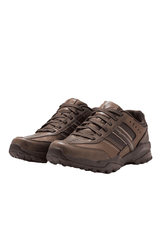 Skechers-Mens-HENRICK-Scarpe-da-ginnastica-delwood-Marrone-Pelle-Escursionismo-Relaxed-Fit-Casual miniatura 8