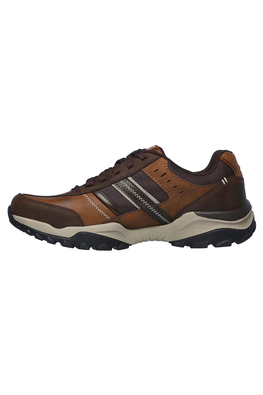 Skechers-Mens-HENRICK-Scarpe-da-ginnastica-delwood-Marrone-Pelle-Escursionismo-Relaxed-Fit-Casual miniatura 4