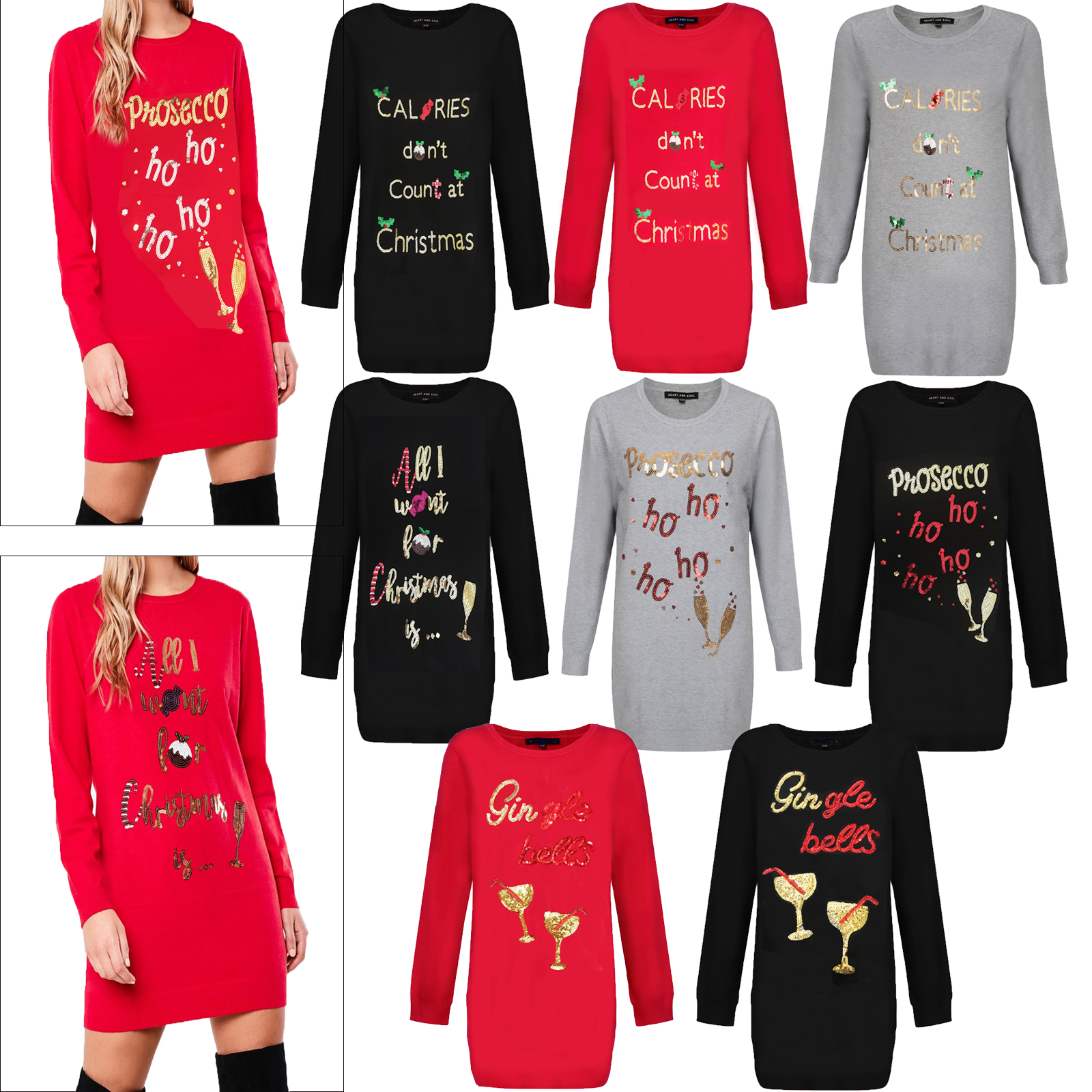 Christmas Tops.Details About Heart And Soul Womens Sequin Christmas Tunic Jumpers Ladies Novelty Knitted Tops