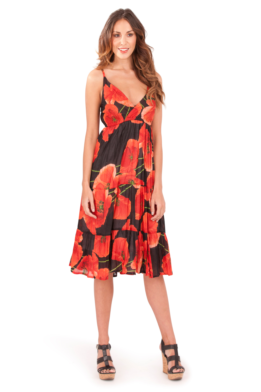 Pistachio-Womens-Crossover-Poppy-Knee-Length-Cotton-Midi-Summer-Evening-Dress thumbnail 3