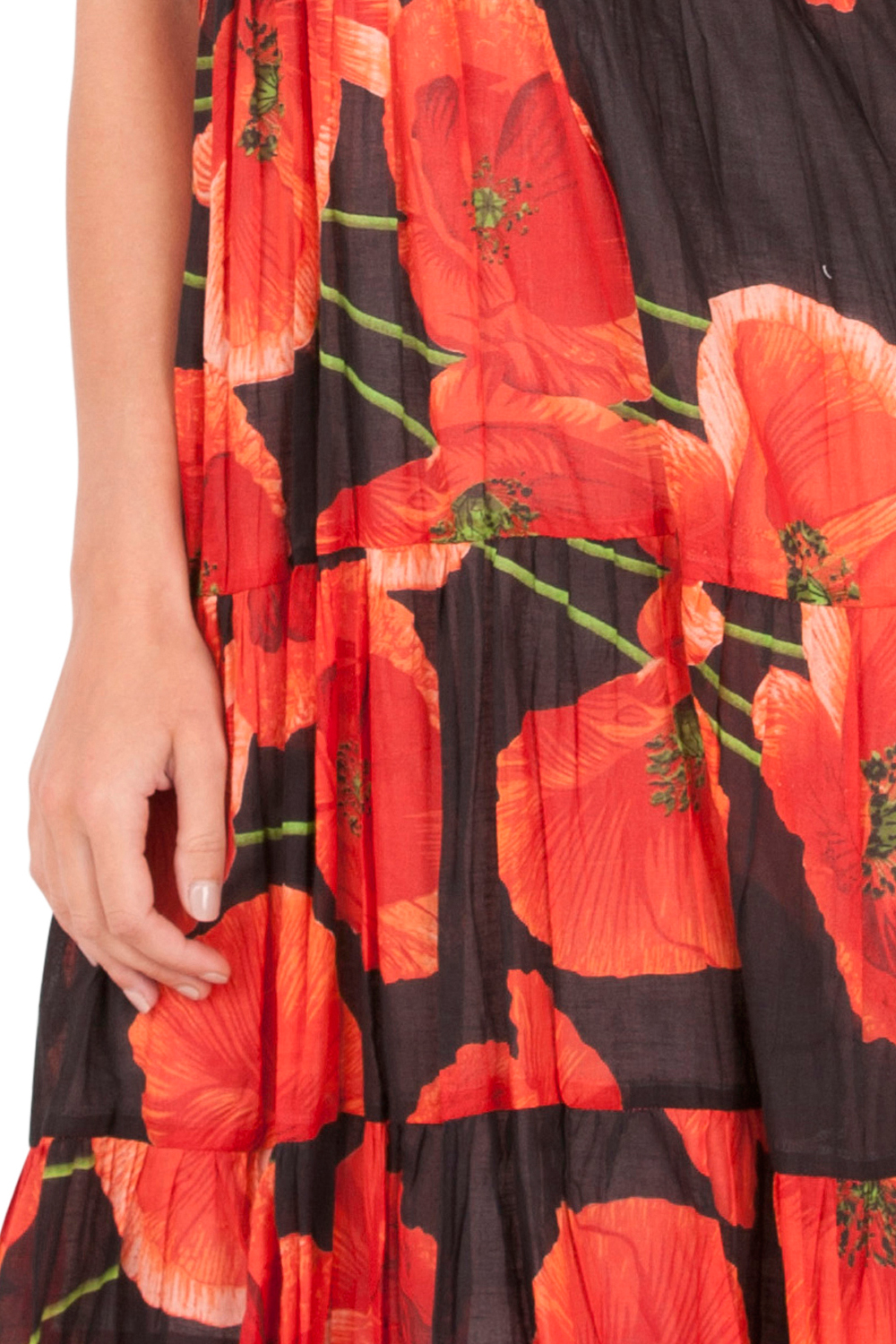 Pistachio-Womens-Crossover-Poppy-Knee-Length-Cotton-Midi-Summer-Evening-Dress thumbnail 6