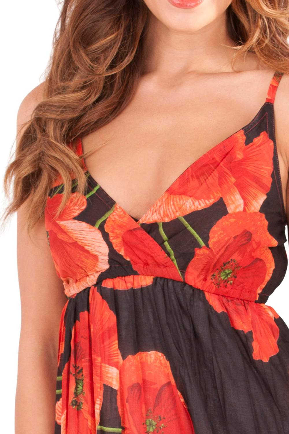 Pistachio-Womens-Crossover-Poppy-Knee-Length-Cotton-Midi-Summer-Evening-Dress thumbnail 4
