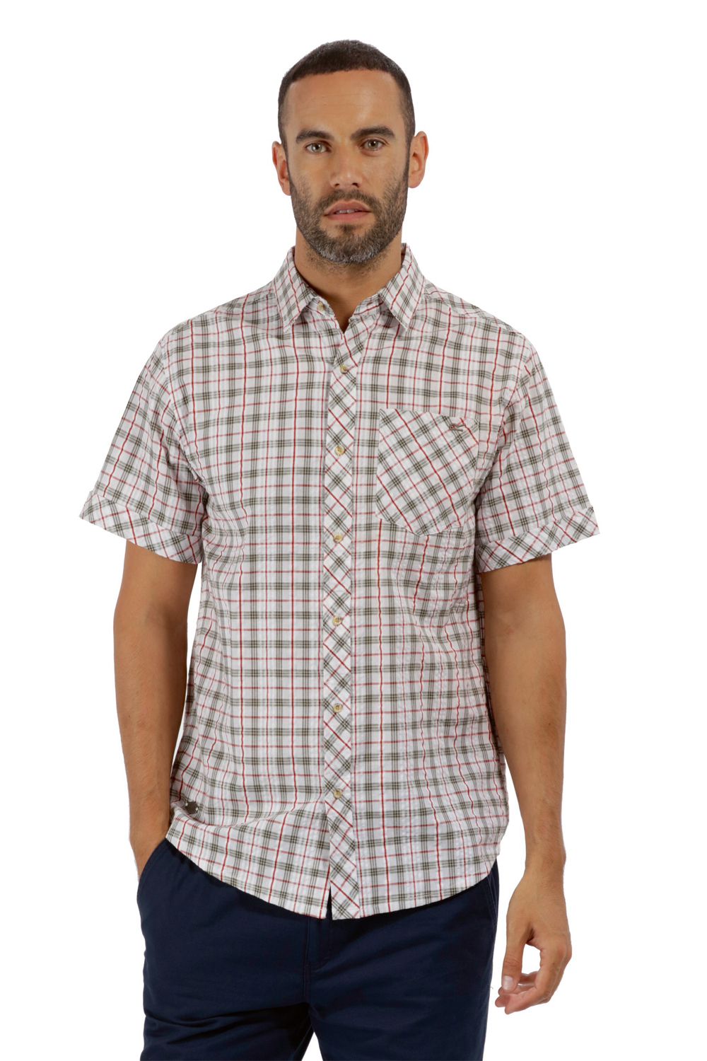 Regatta-Mens-Deakin-II-Coolweave-Cotton-Short-Sleeved-Summer-Check-Shirt-RRP-50 thumbnail 14