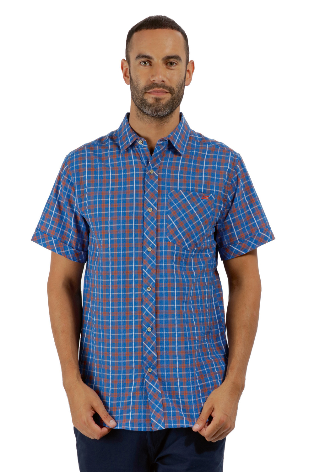 Regatta-Mens-Deakin-II-Coolweave-Cotton-Short-Sleeved-Summer-Check-Shirt-RRP-50 thumbnail 28