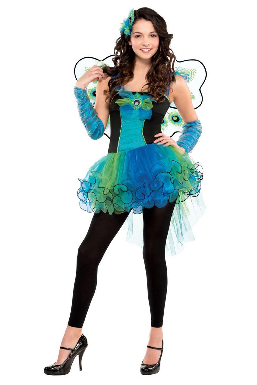 Girls Peacock Diva Teens Bird Feather Party Fancy Dress Costume ...