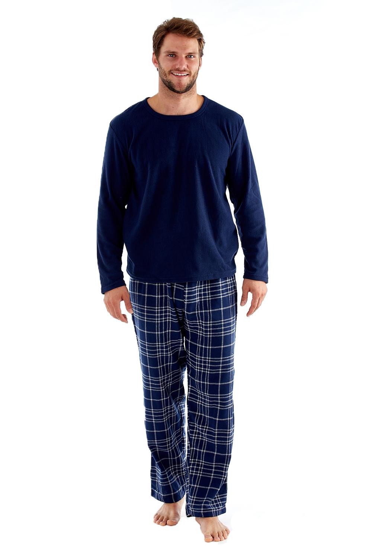 Harvey James Mens Fleece Pyjama Sets Super Soft Checked ...