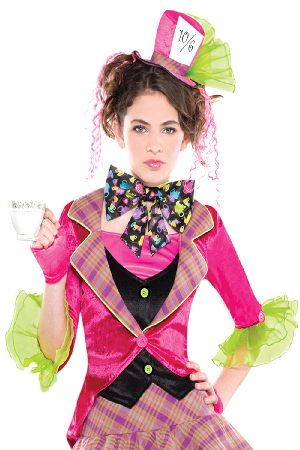 Girls Mad Hatter Costume & Tights New Tea Party Fairy Tale Fancy ...