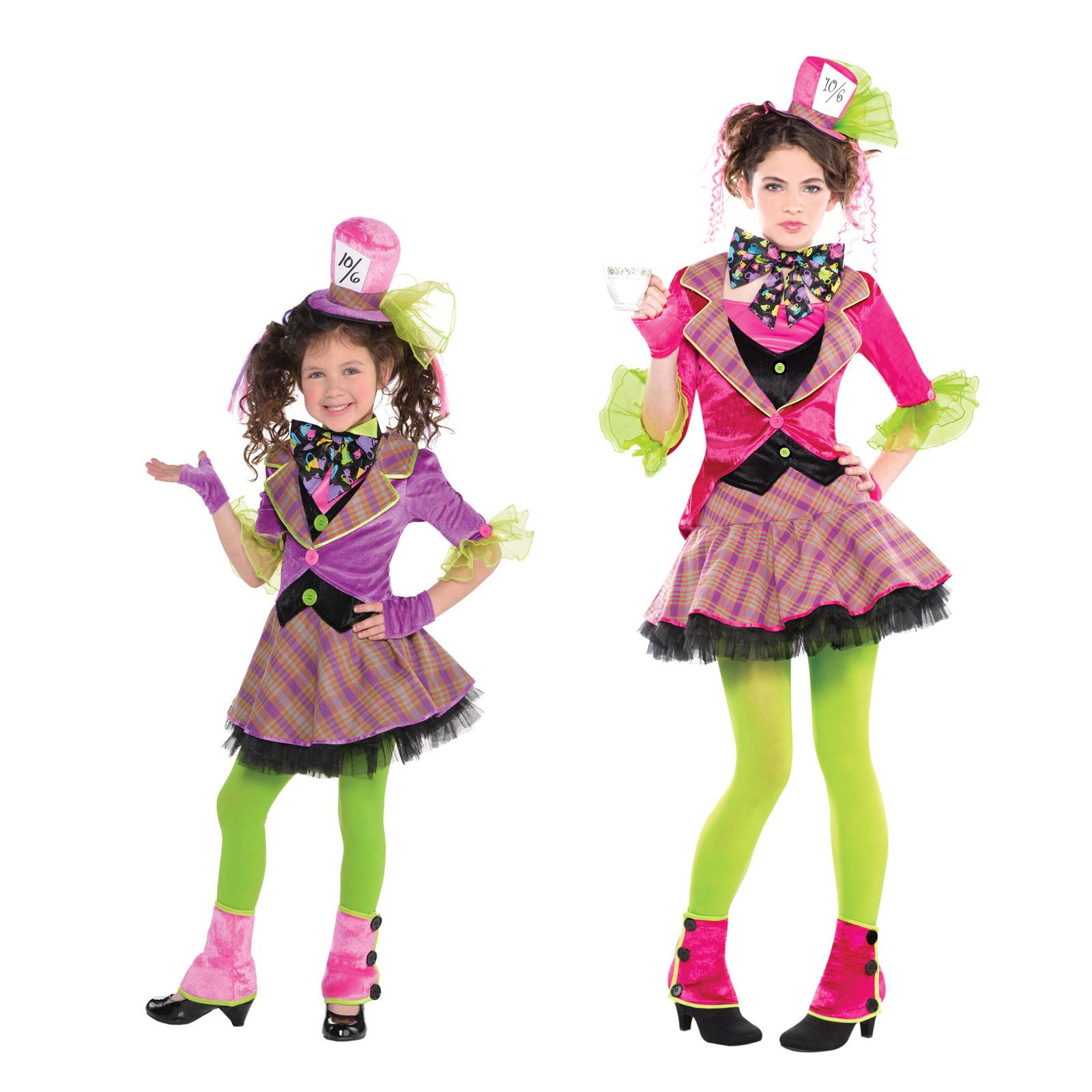 Mädchen Verrückter hutmacher-kostüm & Strumpfhose NEU Teeparty ...