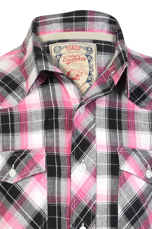 Tokyo-Laundry-Para-Hombre-Camisa-de-cuadros-de-Maryland-2-en-1-Top-cuello-con-cuello-O-Embudo miniatura 12