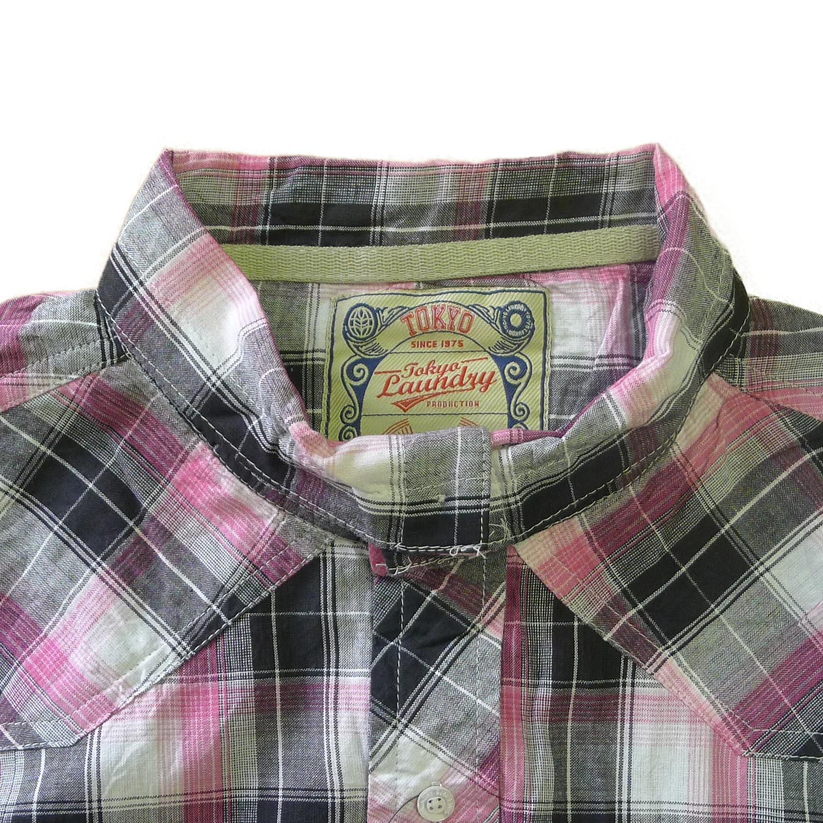 Tokyo-Laundry-Para-Hombre-Camisa-de-cuadros-de-Maryland-2-en-1-Top-cuello-con-cuello-O-Embudo miniatura 14