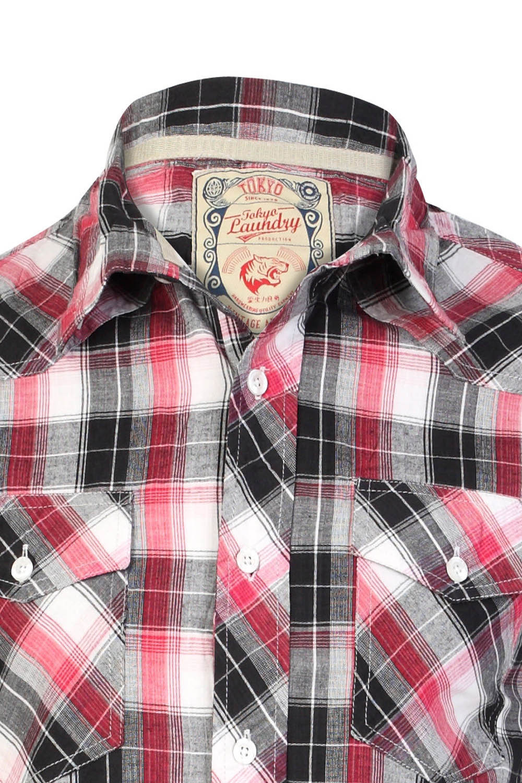 Tokyo-Laundry-Para-Hombre-Camisa-de-cuadros-de-Maryland-2-en-1-Top-cuello-con-cuello-O-Embudo miniatura 7