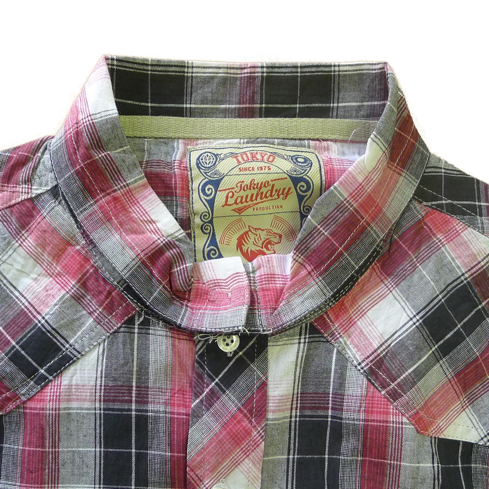 Tokyo-Laundry-Para-Hombre-Camisa-de-cuadros-de-Maryland-2-en-1-Top-cuello-con-cuello-O-Embudo miniatura 9