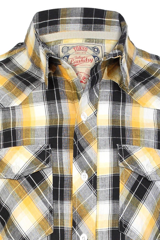 Tokyo-Laundry-Para-Hombre-Camisa-de-cuadros-de-Maryland-2-en-1-Top-cuello-con-cuello-O-Embudo miniatura 3