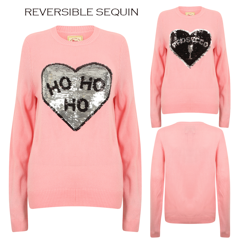 Women Ladies Christmas Novelty Funny Sparkly Jumper HO HO Xmas Sweater Top New