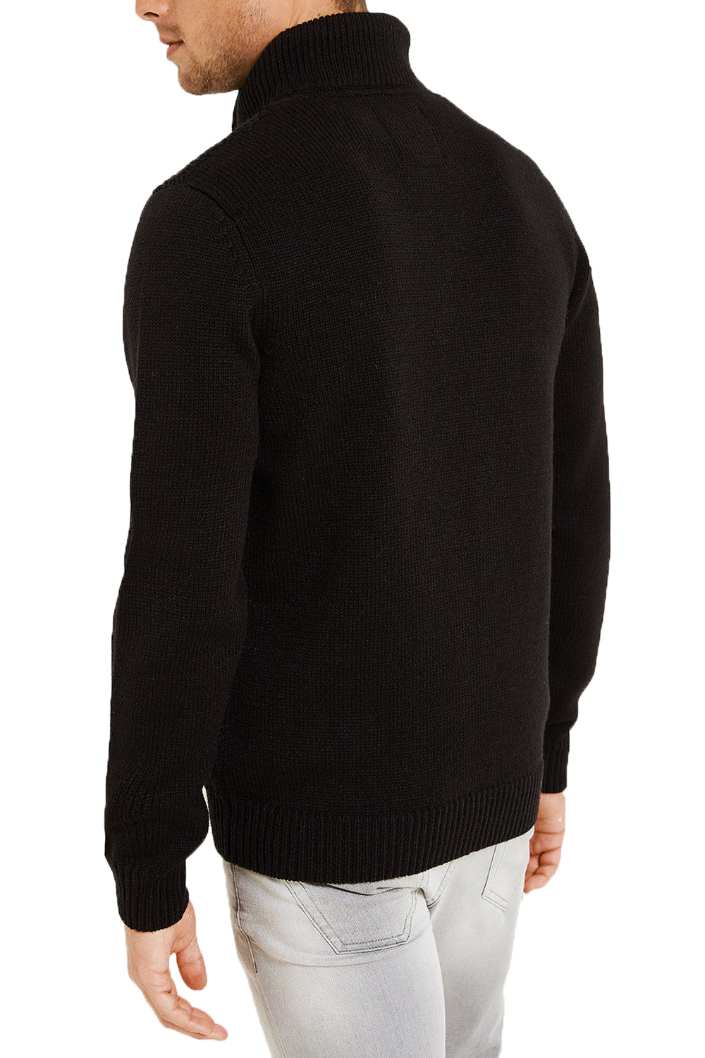 Threadbare Mens Basswood Funnel Neck Ribbed Sweater Zip Collar ...