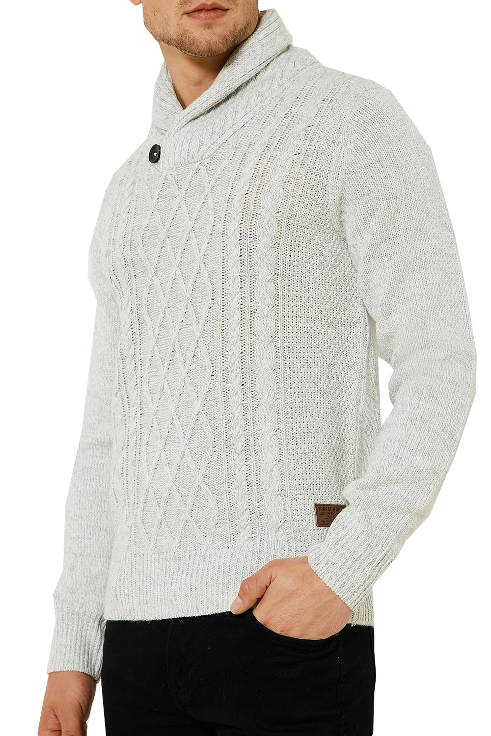 Threadbare Mens Perth Cowl Neck Sweater Cable Knit Ribbed Cuff ...