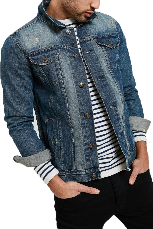 Threadbare Mens Rocky Denim Jacket Classic Distressed Detailing Cotton Outerwear