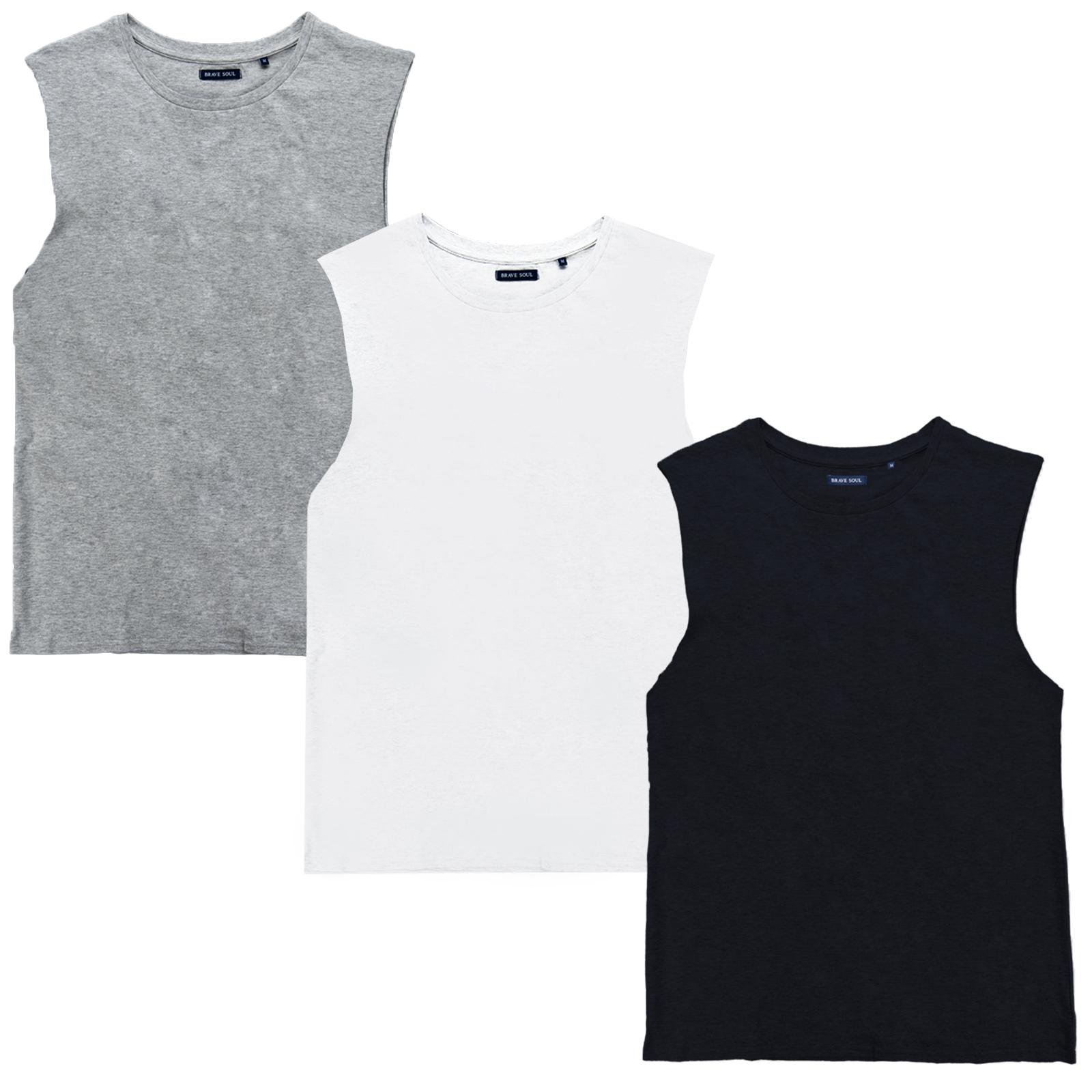 Brave Soul Mens Kota Pure Cotton Longer Fit Training Muscle Vest Tank Top