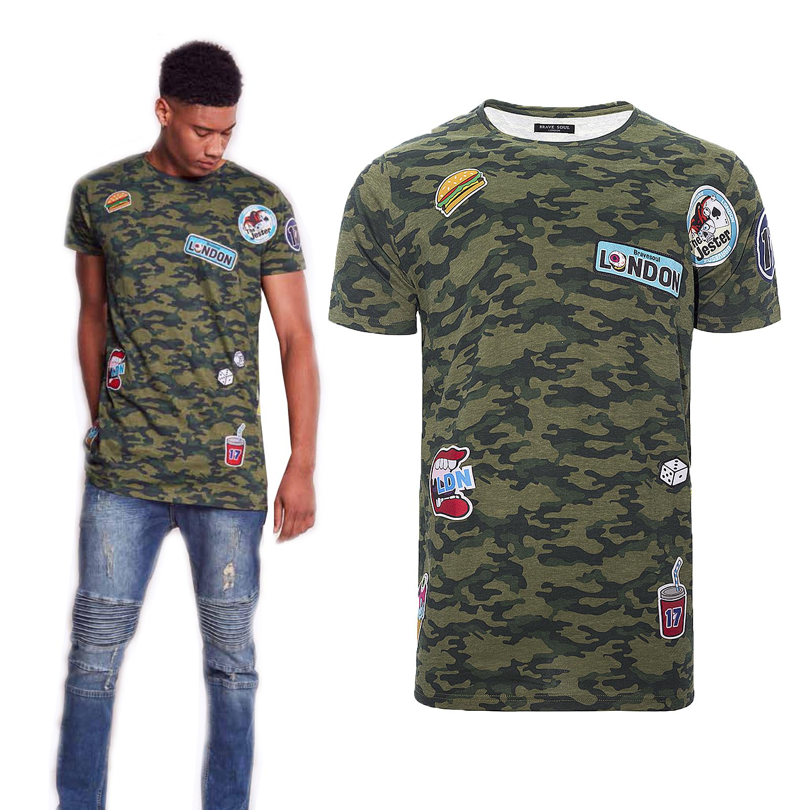 d8ad7f3b Brave Soul Mens Dratini Camouflage T-Shirt Luxury Longline Sewn Badges Tee  Top