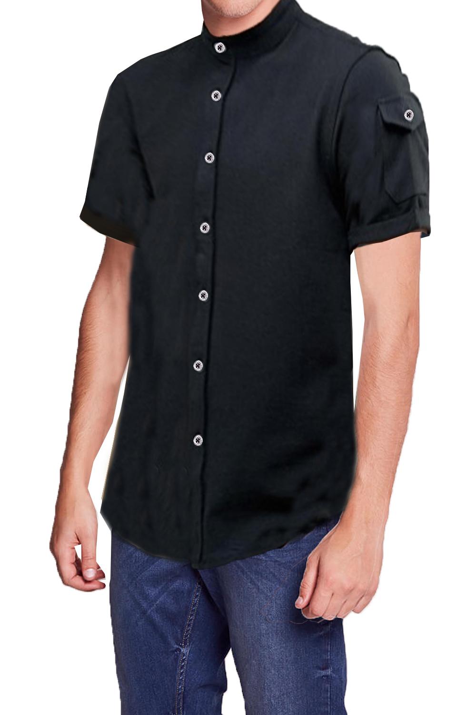 Brave-Soul-Da-Uomo-Joey-Designer-cotone-collo-serafino-tasca-sulla-manica-camicia-in-pique
